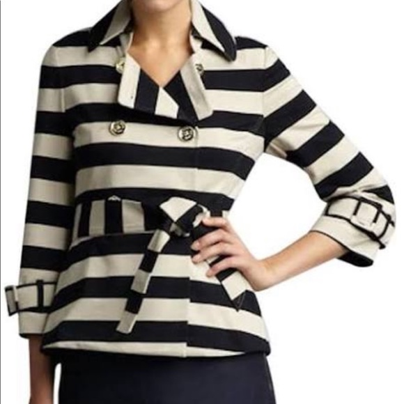 Kate Spade Bow Double Breasted Striped Nautical Gold Button Jacket